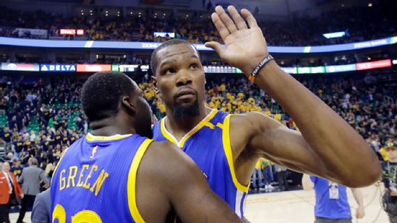 af5d33a448ba ... after Game 7. Draymond Green might have sealed Kevin Durant going to  the Warriors with a cell phone call from the parking lot. (AP photo Rick  Bowmer)